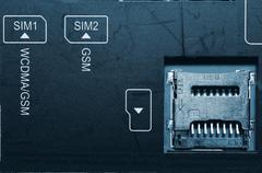 Socket for memory card micro-SD. - stock photo