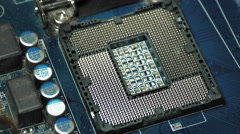 Installing Intel I5 CPU Into Motherboard Socket Stock Footage