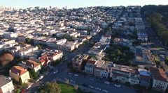 4K Aerial drone shot of San Francisco palace of fine art houses sunset - stock footage