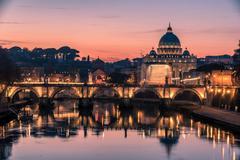 Rome, Italy: St. Peter's Basilica and Saint Angelo Bridge - stock photo