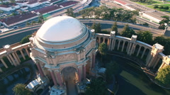 4K Aerial drone shot of San Francisco palace of fine art backward sunset - stock footage