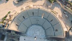 Aerial Israel. Raising up from Caesarea Amphitheater to sky - stock footage
