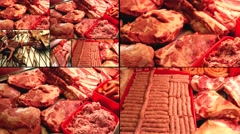 Raw Meat products ...4K collage multiscreen Stock Footage