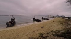TROIA Portugal, November 2015, Landing Ships At Beach Unload Soldiers Stock Footage