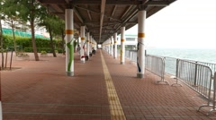 Covered run pathway for fitness people, modern quay promenade Stock Footage