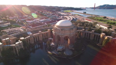 4K Aerial drone shot of San Francisco palace of fine art right pan sunset - stock footage