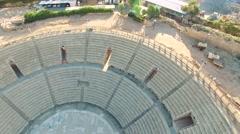 Aerial Israel. Landing to Caesarea Amphitheater - stock footage