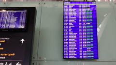 Electronic display registration flights at the airport Stock Footage