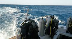 Wake of boat with diving tanks - Scuba Diving in clear Red Sea water Egypt Stock Footage