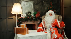 Greeting Santa Claus from his residence Stock Footage