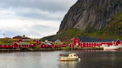 Reine timelaspe in Lofoten Islands, Norway Stock Footage
