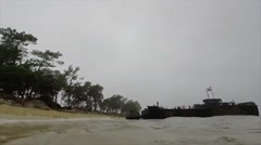 TROIA Portugal, November 2015, Landing Ships At Beach Unload Vehicle Stock Footage