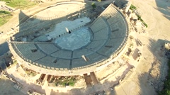 Aerial Israel. Spinning around Caesarea Amphitheater from all the sides Stock Footage