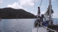 Transportation of motorcycle on sailboat form Panama to Colombia - stock footage