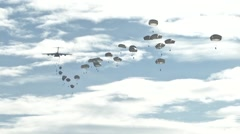 ZARAGOZA SPAIN, NOVEMBER 2015, Paratroopers Jump Out C17 Aircraft - stock footage