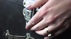 Mysterious trunk, sliver latch on hiding place - stock footage