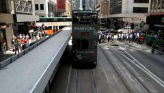 View from the upper deck of the double-deck tram in Hong Kong. - stock footage
