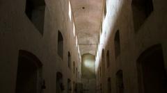Devils Island prison buildings Stock Footage