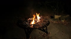 Fire burning in a fire pit. Stock Footage