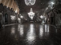 St. Kinga's Chapel 101 meters underground in Wieliczka Salt Mine Stock Photos