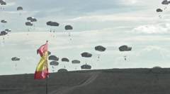 ZARAGOZA SPAIN, NOVEMBER 2015, Paratroopers Landing On Ground Spain Flag - stock footage