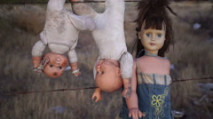 Doll Horror Dolls Hanging Handheld Stock Footage