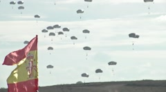 ZARAGOZA SPAIN, NOVEMBER 2015, Paratroopers Landing On Ground Spain Flag Stock Footage