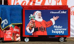 Coca-Cola Christmas Display and Santa Claus Stock Photos