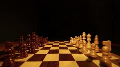 Footage of a chess board with it´s pieces lined up on it Stock Footage