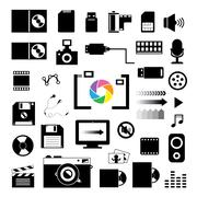 technology and storage icons set - stock illustration