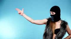 Woman sexy girl in balaclava, crime and violence 4K Stock Footage