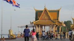 Riverside walk,Phnom Penh,Cambodia Stock Footage