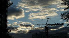 Time Lapse: Tower Crane and Clouds Stock Footage
