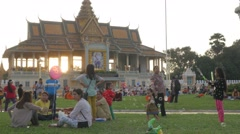 Kids playing in park with air bubbles,Phnom Penh,Cambodia Stock Footage