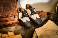 Classic shoes handmade in an Italian shop. - stock photo