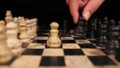 The beginning of a new chess game - stock footage