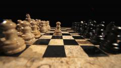 The start of a chess game, the opening move with a white pawn Stock Footage