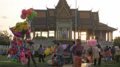 Stock Video Footage of Balloon and food sellers in royal palace park,Phnom Penh,Cambodia
