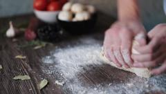 Flour the dough cooking - stock footage