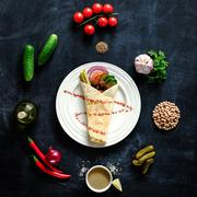 Falafel on a white plate. - stock photo