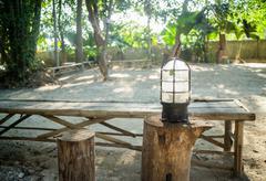 Vintage lamp in the garden - stock photo