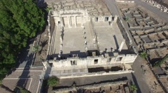 Aerial Israel. crane view ancient synagogue in Capernaum, Galilee sea Stock Footage