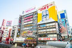 OSAKA,JAPAN- November 30 :Night view of sign advertisements at Numba area on  - stock photo