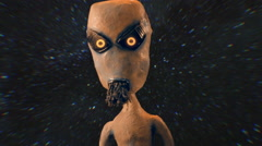 Alien with stars outside et extraterrestrial Stock Footage