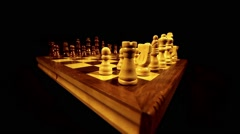 Side shot of a chess board and it´s pieces lined up for a new game, knight move - stock footage