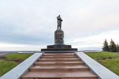 Nizhny Novgorod, Russia - November 11 2015.  monument to  pilot Chkalov on - stock photo