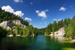 Emerald lake in National park of Adrspach - Czech Republic Stock Photos