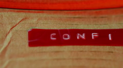 Confidential concept label on box document 2 Stock Footage