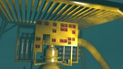 Subsea oil and gas equipment under a protection structure, 3D animation Stock Footage