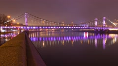 Timelapse of Krymsky Bridge or Crimean Bridge at night is a steel suspension Stock Footage